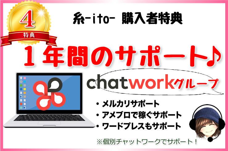 【特典4】1年間の無期限のチャットワークサポート!
